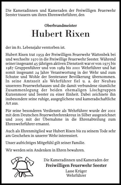 Nachruf Hubert Rixen