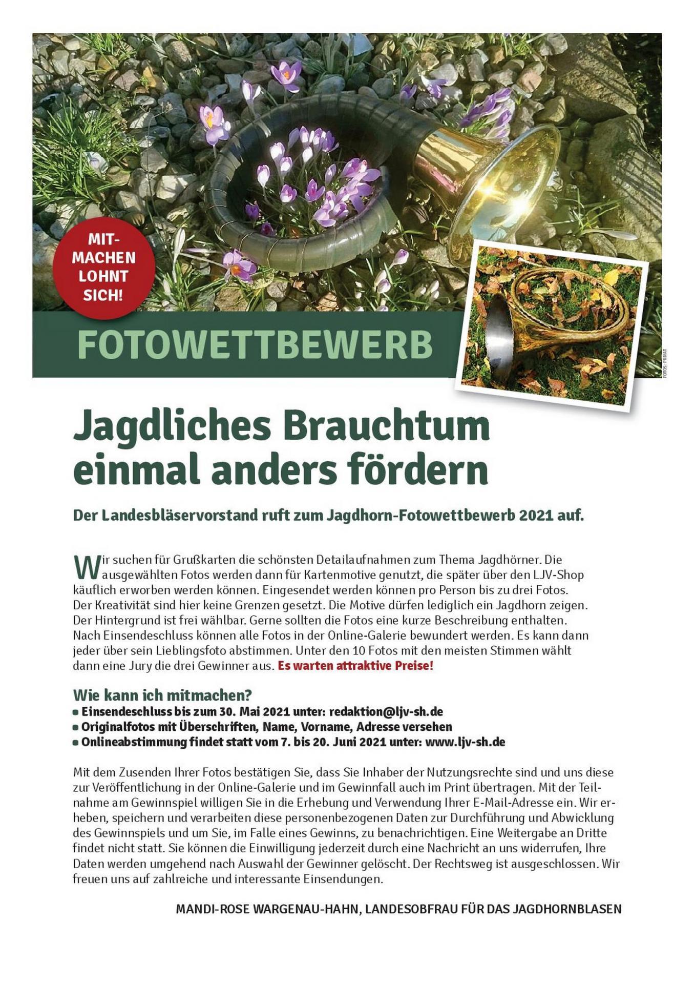 Aufrunf zum Fotowettbewerb 2021 Jagdhornbläser