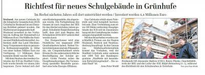 Foto zur Meldung: Richtfest für neues Schulgebäude in Grünhufe