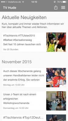 Vorschaubild zur Meldung: Keine News verpassen mit der TV Hude App für Android und iOS
