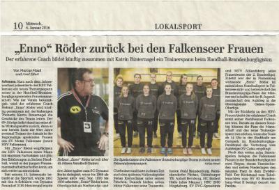 """Foto zur Meldung: 1. Frauen - Presseartikel MAZ - Helmut """"Enno"""" Röder zurück bei den Falkenseer Frauen"""