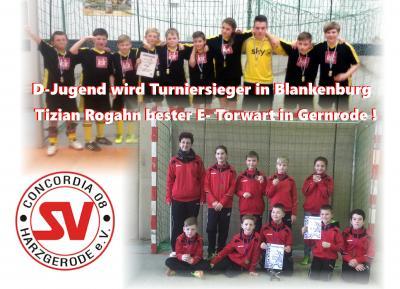 Foto zu Meldung: D-Jugend gewinnt Turnier in Blankenburg - Tizian Rogahn bester E- Torhüter in Gernrode