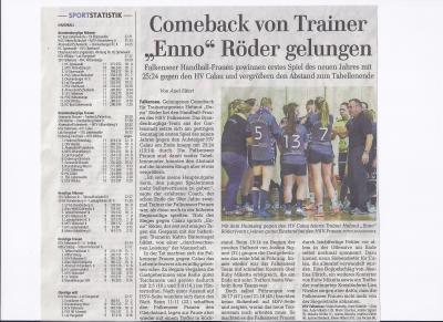 """Foto zur Meldung: 1.Frauen - Comeback von Trainer """"Enno"""" Röder gelungen"""