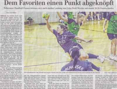 Foto zur Meldung: 1. Frauen - Dem Favoriten aus Werder einen Punkt abgeknöpft