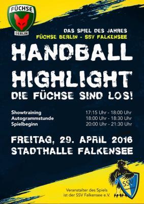 Foto zu Meldung: Füchse Berlin - Die Bundesligaprofis zu Gast beim SSV-Falkensee am 29.04.2016