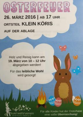 Foto zur Meldung: Osterfeuer in Klein Köris am 26.03.2016 ab 17:00 Uhr