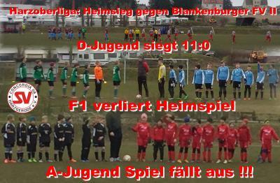 Foto zu Meldung: 1:0 Sieg in der Harzoberliga, D-Jugend gewinnt 11:0 und F1 verliert gegen Germania Wernigerode, A-Jugendspiel am Sonntag fällt aus !!!