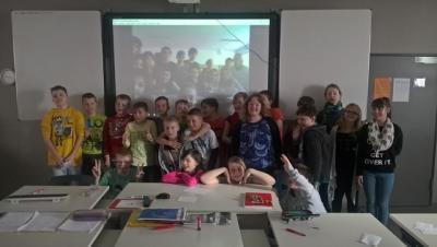 Foto zur Meldung: Englischunterricht mal anders - Skypekonferenz mit italienischen Schülern