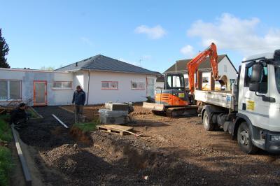 Foto zur Meldung: Bauarbeiten im Anbau