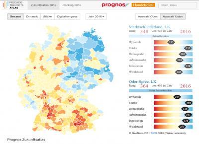 Foto zur Meldung: Der neue Prognos Zukunftsatlas 2016: Das Ranking für Deutschlands Regionen