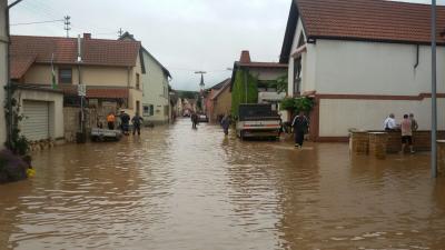 Vorschaubild zur Meldung: Hochwasser in Flonheim und weiteren Wiesbach Gemeinden