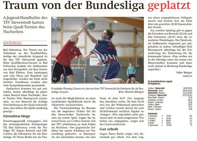 Foto zur Meldung: Der Traum ist geplatzt! Männl. Jugend A verpasst leider die Jugend Bundesliga!
