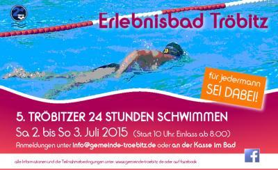 Foto zur Meldung: 5. Tröbitzer 24 Stunden Schwimmen 2015  -  für jedermann, SEI DABEI!