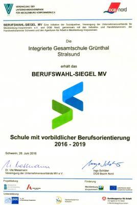 Foto zur Meldung: IGS – zertifizierte Schule mit vorbildlicher Berufsorientierung
