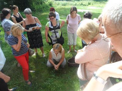 Am Kanal fanden sich viele besondere Pflanzen. Sabine Priezel hockt im Kreis und erklärt.