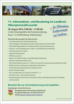Foto zur Meldung: 11. Informations- und Beratertag findet am 30. August 2016 in Senftenberg statt
