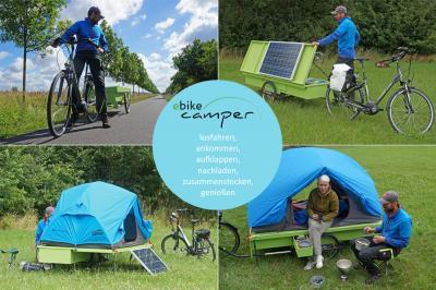 Foto zur Meldung: Regionale Innovation: Prototyp eines klappbaren Fahrrad-Campers, der selbst produzierten Solarstrom speichert