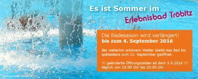 Foto zur Meldung: Erlebnisbad Tröbitz verlängert die Badesaison