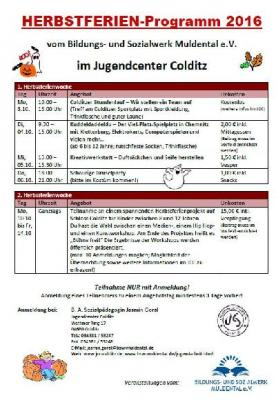 Vorschaubild zur Meldung: Jugend Center Colditz e. V. präsentiert Herbstferienprogramm 2016