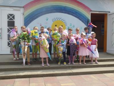 Foto zu Meldung: 16 Schulanfänger in der Evangelischen Schradengrundschule