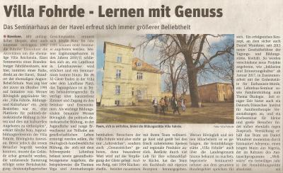 Foto zur Meldung: Lernen mit Genuss - Villa im Preußenspiegel
