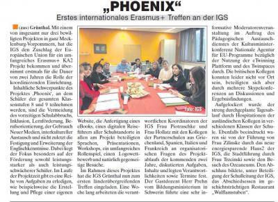 """Foto zur Meldung: """"PHOENIX"""" Erstes internationales Erasmus+ Treffen an der IGS"""