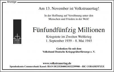Foto zur Meldung: Gedenkfeiern zum Volkstrauertag am 13. November
