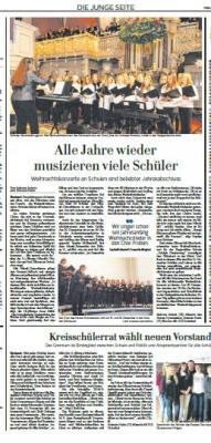 Foto zur Meldung: Weihnachtskonzerte an Stralsunder Schulen/ Neuer Kreisschülerrat