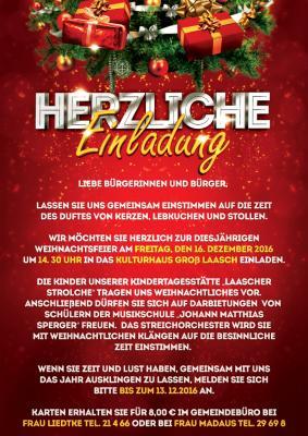 Foto zur Meldung: Groß Laasch - Herzliche Einladung zur Weihnachtsfeier