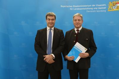 Finanzminister Dr. Markus Söder und Bürgermeister Werner Blüml