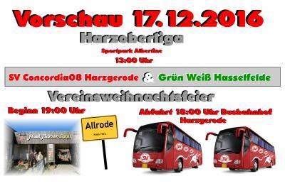 Foto zu Meldung: Harzoberliga: Heimspiel gegen G.W. Hasselfelde/ Vereinsweihnachtsfeier in Allrode
