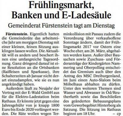 Vorschaubild zur Meldung: PNP-Bericht vom 20.12.2016, Gemeinderat Fürstenstein tagt am Dienstag, den 20.12.2016