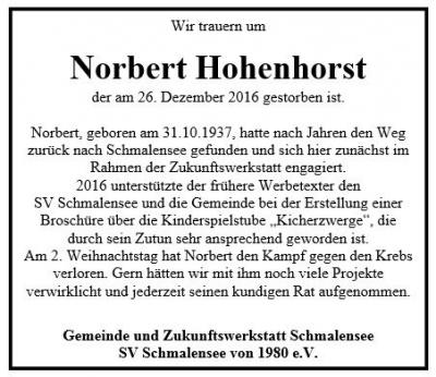 Foto zu Meldung: Trauer um Norbert Hohenhorst