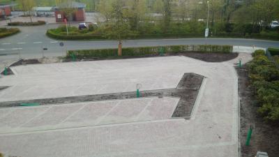 Der neue Parkplatz nimmt Gestalt an