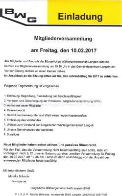 Einladung Mitgliederversammlung BWG Langeln
