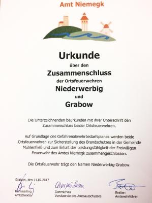 Foto zur Meldung: Presseinformation: Zusammenschluss der Ortsfeuerwehren Grabow und Niederwerbig