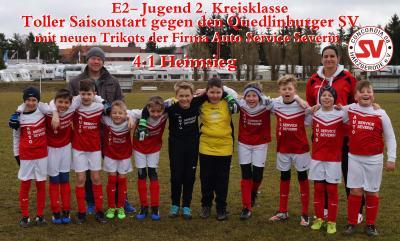 Foto zu Meldung: E2- Jugend siegt 4:1 gegen den Quedlinburger SV in neuen Trikots !