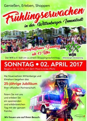 """Vorschaubild zur Meldung: Einladung zum """"Frühlingserwachen"""" in der Innenstadt und zum Jubiläum 25 Jahre Partnerschaft der Feuerwehren Elmshorns und Wittenberges"""