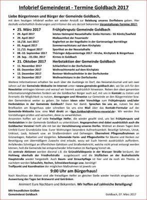 Vorschaubild zur Meldung: Infobrief der Gemeinde Goldbach 02 / 2017