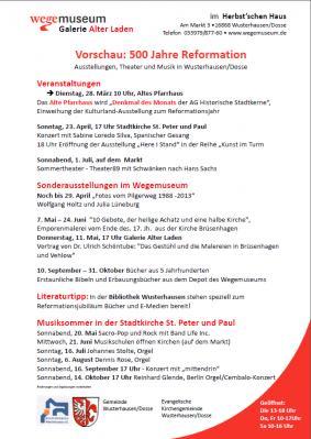 Foto zur Meldung: Neue Jahresübersicht der Veranstaltungen zum Reformationsjubiläum in Wusterhausen