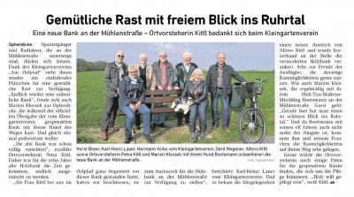 Foto zu Meldung: Kleingartenverein stiftete Bank für Opherdicke