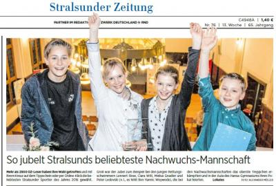 Foto zur Meldung: Ostseezeitung kürt beliebteste Sportler Stralsunds - IGS Schüler mit dabei