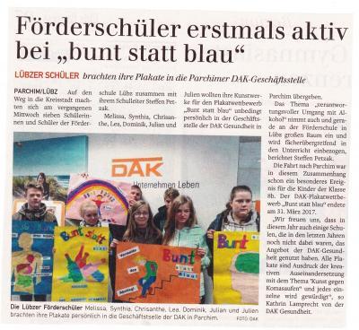 """Foto zu Meldung: Förderschüler erstmals aktiv bei """"bunt statt blau"""""""