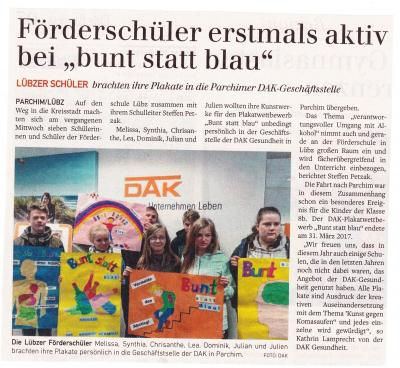 "Foto zur Meldung: Förderschüler erstmals aktiv bei ""bunt statt blau"""