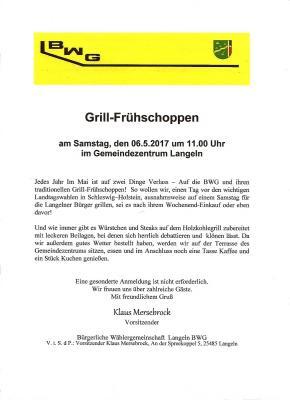 Vorschaubild zur Meldung: Die Einladung zum Grill-Frühschoppen der BWG Langeln.