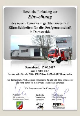 Vorschaubild zur Meldung: Einweihung des neuen Feuerwehrgerätehauses mit Räumlichkeiten für die Dorfgemeinschaft in Dornswalde