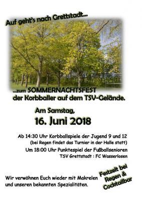 Vorschaubild zur Meldung: Sommernachtsfest der Korbballabteilug des TSV Grettstadt am 16.6.2018