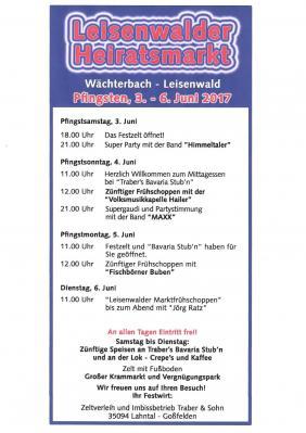 Vorschaubild zur Meldung: Leisenwalder Heiratsmarkt 03. – 06. Juni 2017