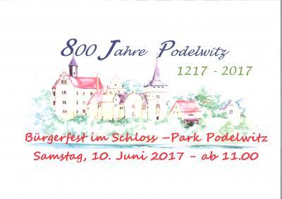 Vorschaubild zur Meldung: 10.05.2017: Bürgerfest anlässlich der 800 jährigen Ersterwähnung von Podelwitz