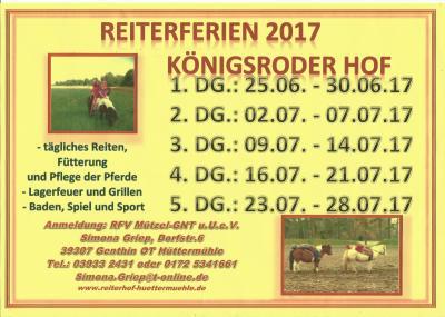 Foto zu Meldung: Reiterferien 2017 auf dem Königsroder Hof
